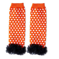 Baby Girls Orange & White Leg Warmers with Chiffon Ankles