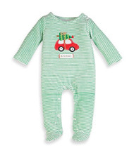 Mud Pie Infant Boys Holiday Green Stripe One Piece (0-6 months)