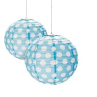 "Light Blue Polka Dot Paper Lantern - 12"" - Set of 2"