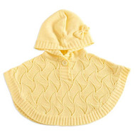 Baby Girls Poncho Sweater (0-6 months, Yellow)