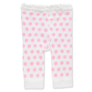 Baby Girls White & Pink Polka Dot Leggings -0-12 months