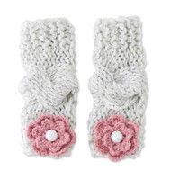Baby Girls Vintage Gray & Rose Flower Knit Leg Warmers