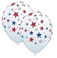 "11"" Patriotic Stars Latex Balloons - Pkg of 6"