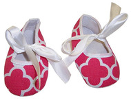 Fuschia Quaterfoil Tie Crib Shoes - 0-6 months