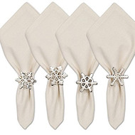 Silver Snowflake Napkin Rings - Set of 4