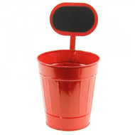 Red Tin Planter/Container w/ Chalkboard - Large 12-1/2""