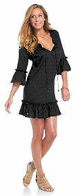 Mud Pie Chloe Black Ruffle Cover Up - Medium
