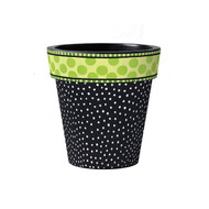 "Frolic Black with Dots 12"" Art Planter"