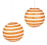 """Orange Striped Paper Lantern - 12"""" - Set of 2"""