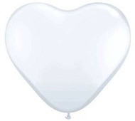 "11"" White Latex Heart Balloons - Pkg of 6"