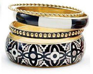Mud Pie Bali Printed Bangle Bracelets Set (Black)