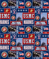U.S. Marine Corps Fleece Fabric Geometric Design