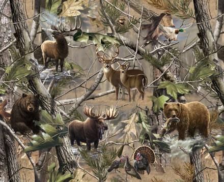 Realtree Fleece Blanket Fabric With Bear Elk Deer