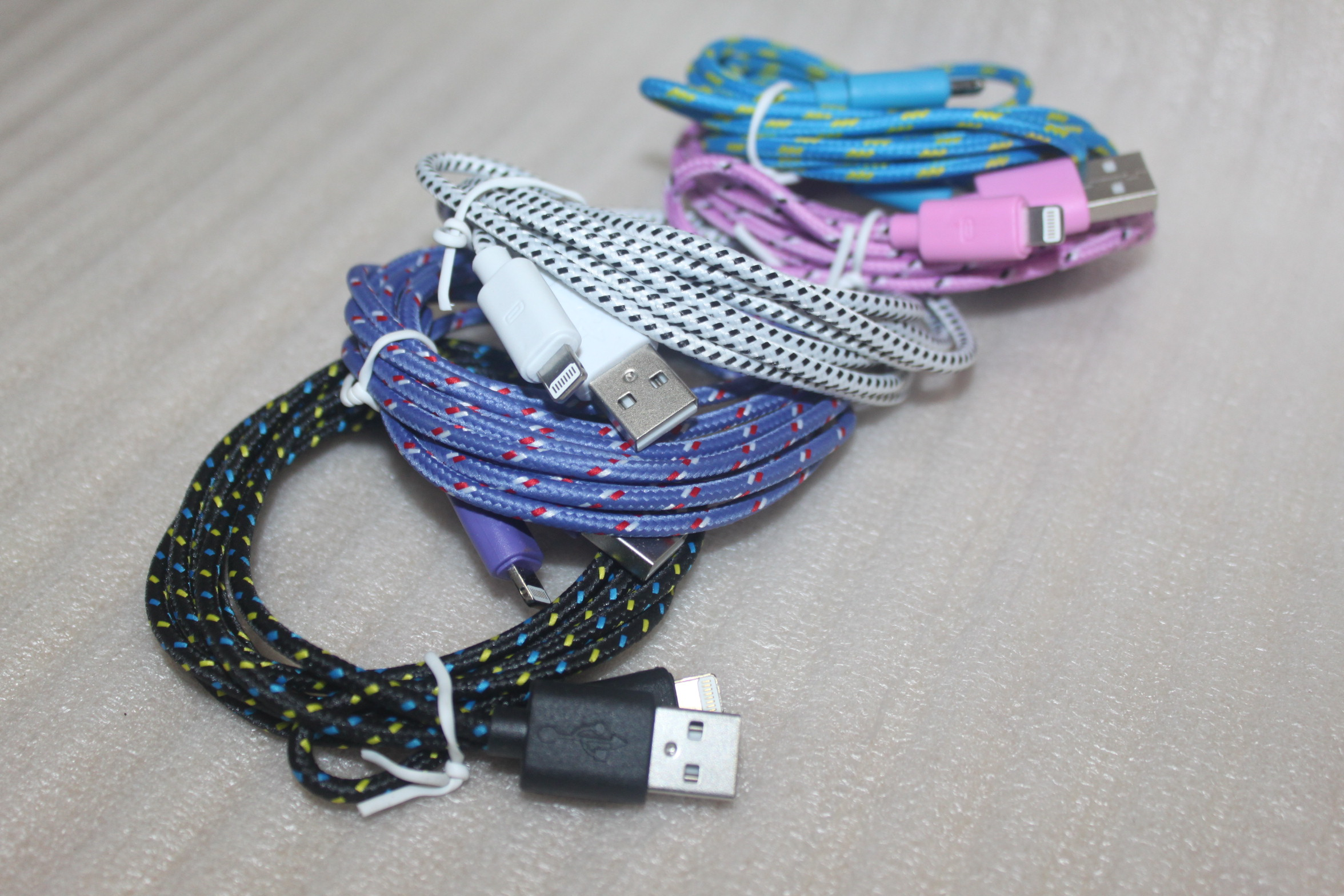 Pink 10 Ft Braided 8 Pin Usb Sync Data Charging Cable For