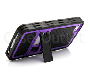 Purple & Black Slim Case back Cover With Kickstand For Apple Iphone 5 & 5S