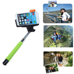 Extendable Monopod Handheld Bluetooth Camera Remote Self Portrait Selfie Stick (Green)