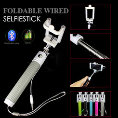 Gray Fold able Extendable Mono pod Selfie Stick with Wired Cable shutter Remote