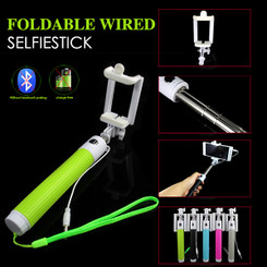 Green Foldable Extendable Mono pod Selfie Stick with Wired Cable shutter Remote