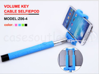 Blue Extendable Handheld Stick Selfie Wired Remote for Android IOS Phone Kjstar z06-4