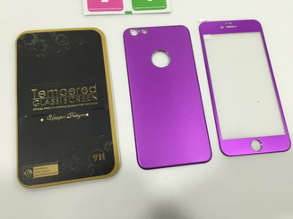 Purple Color Front & Back Alloy SCREEN TEMPERED GLASS FOR APPLE IPHONE 6 4.7 INCH