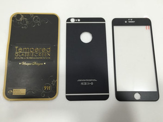 Black Front & Back Alloy TEMPERED GLASS SCREEN FOR APPLE IPHONE 6 plus 5.5