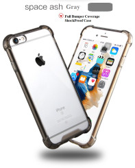 Space Gray Drop Proof Bumper Edge Case Crystal Shell For Apple Iphone 6 6S 4.7""