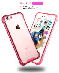 Hot Pink Drop Proof Bumper Edge Case Crystal Shell For Apple Iphone 6 6S 4.7""