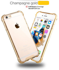 Champagne Gold Drop Proof Bumper Edge Case Crystal Shell For Apple Iphone 6 6S Plus 5.5""