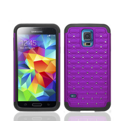 Purple Hard Soft Hybrid Bling Diamond Case Cover for Samsung Galaxy S5