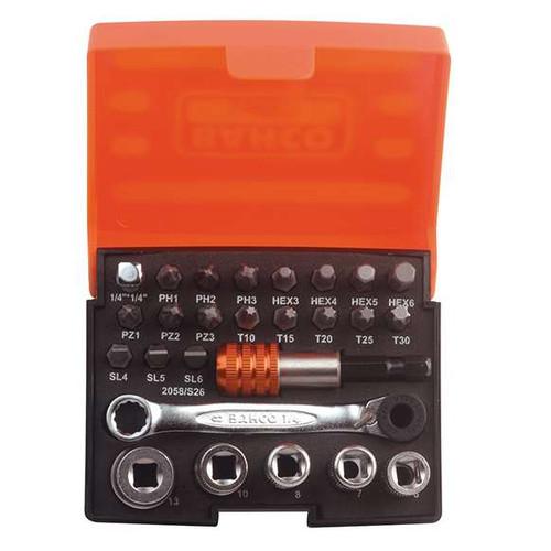 "Bahco 1/4"" Pocket Socket Set - 26 pc Metric"