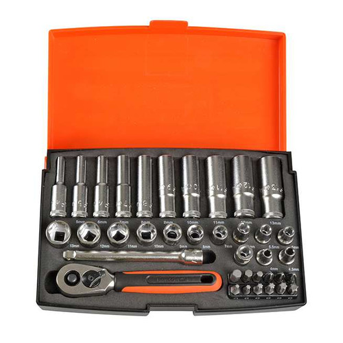 "Bahco 1/4"" Deep Drive Socket Set - 37 pc Metric (BAHSL25L)"