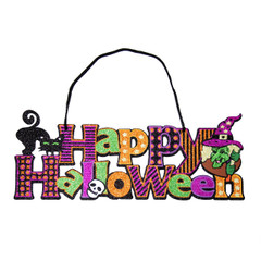 Happy Halloween wall sign-cat&witch