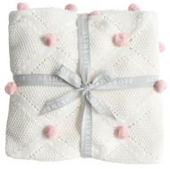 Pom Pom Blanket Pink - 100cm x 70cm