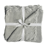 Knit Mini Moss Stitch Blanket 100% cotton - Grey 100cm x 100cm