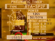 Idec / Izumi Denki (RTA-SP2F-100SA120) Pneumatic Timing Relay, New Surplus