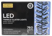 LED TWINKLE LIGHTS 24.9FT W/BLACK STRAND