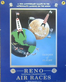 1999 30th Anniversary Moon Landing Poster NASA and Reno Air Races