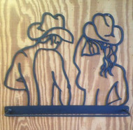 Double Cowgirl Cowboy Towel Bar