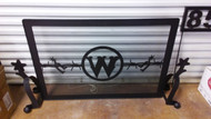 Double Spur Fire Place Screen with Barbwire & Initial