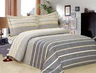 French Grey Stripe Linen Set