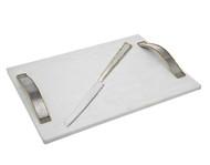 Godinger Golden Frost White Challah Board w/ Knife (84122)
