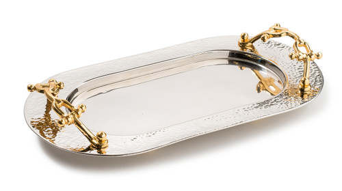 Hammered Silver Dip Container Tray w/ Gold Buckle Handles (Small)