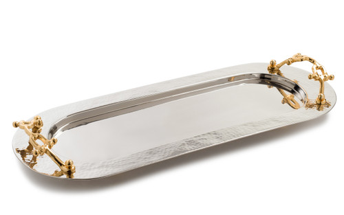 Hammered Silver Dip Container Tray w/ Gold Buckle Handles (Large)