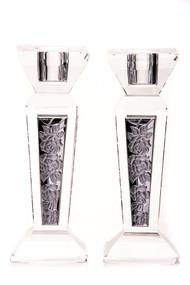 Crystal & Silver Floral Candlestick Set