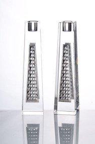 Crystal & Silver Brick Modern Candlestick Set