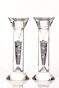 Crystal & Silver Diamond & Floral Candlestick Set - 6""