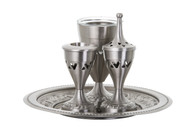 Pewter Havdalah Set w/ Glass Inserts (I152)