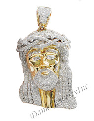 "New Jesus Piece Head Face Yellow Gold 2 1/2"" White Diamond 5.88ct 14k Custom Pendant"
