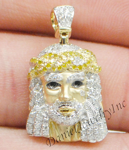New jesus piece head face yellow gold 1 white diamond 70ct 10k image 1 aloadofball Images