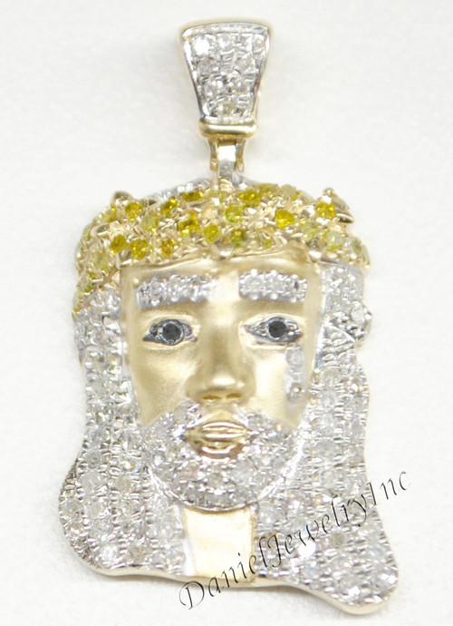 New jesus piece head face yellow gold 1 white diamond 75ct 10k image 1 aloadofball Gallery